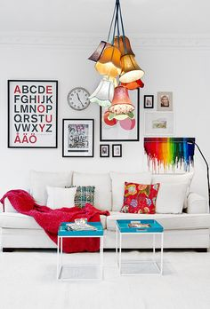 colorful lamp shades made into chandelier