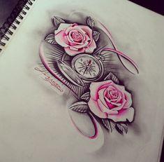 Rose Tattoos, Body Art Tattoos, New Tattoos, Sleeve Tattoos, Future Tattoos, Tatoos, Girl Stomach Tattoos, Mommy Tattoos, Chicano Style Tattoo