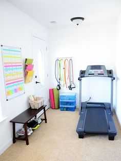 workout nook home gyms . workout nook in bedroom . workout nook in basement . home workout nook . Workout Nook, Workout Room Home, Gym Room At Home, Home Gym Decor, At Home Workouts, Workout Ideas, Workout Room Decor, Diy Home Gym, Home Exercise Rooms