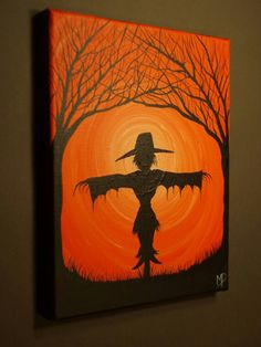 Painting of a scarecrow! Awesome for this Halloween! Fall Canvas Painting, Autumn Painting, Autumn Art, Diy Painting, Painting & Drawing, Canvas Art, Canvas Ideas, Halloween Imagem, Fete Halloween