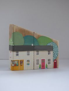 Hand painted wooden houses ~ miniature house ~ handmade ~ house warming gift ~ reclaimed wood ~ home decor ~ One of a kind