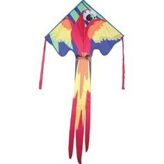 """Amazon.com: Kite - Large Easy Flyer - Macaw (46"""" X 90"""") with 300 Ft 30lb Test Kite String and Winder: Toys & Games"""