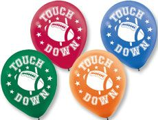 """Football 12"""" Latex Balloons www.teelieturner.com You will score a major touchdown with your guests when they see these bright and colorful balloons. $4.57 #football"""