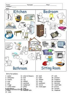 Rooms and furniture worksheet - Free ESL printable worksheets made by teachers teacher resources Vocabulary Worksheets, Printable Worksheets, English Vocabulary, English Worksheets For Kids, English Activities, Learn Russian, Learn English, English Exercises, Spanish Exercises