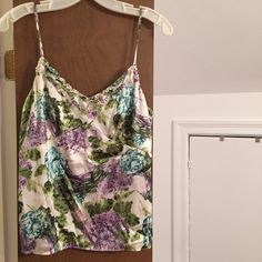 Silk Floral Top Beautiful top. Spaghetti straps are adjustable. Like new! 93%silk 7% spandex Ann Taylor Tops Tank Tops