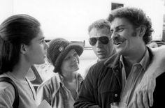 A light moment behind the scenes on the 1972 Sam Peckinpah film The Getaway with Ali MacGraw, Sally Struthers, Steve McQueen and Al Lettieri.