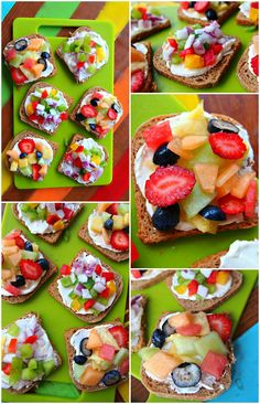 Tiny Toast!  Ingredients:   •Whole Wheat Mini Toast  •Light Cream Cheese   •Mixed Bell Peppers  •Red Onion  •Strawberries  •Cantaloupe  •Pineapple  •Watermelon  •Blueberries  •Honey due Melon   Directions:   1.Spread toast on baking sheet and bake on 350 for 7 minutes until lightly browned and crisp.  2.Let them cool for 10 minutes  3.Spread 1 tbsp of cream cheese on each slice of toast  4.Top each mini toast with either 1 tbsp of diced fruit or 1 tbsp of diced vegetables.