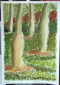 Jardín del Turia.  Acuarela y tinta (por ese orden).  Amparo Ramis