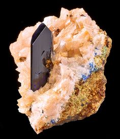 Fine crystal of Azurite rising up from a bed of Dolomite covered matrix. From the Tsumeb Mine, Tsumeb, Otjikoto Region, Namibia.