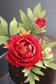 Kiara`s cakes: Sugar Peony Cake Sugar Paste Flowers, Icing Flowers, Fondant Flowers, Wire Flowers, Paper Flowers, Peony Cake, Fondant Flower Tutorial, Bolo Floral, Fondant Bow