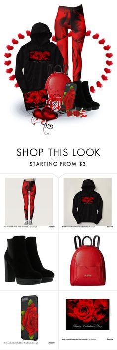 """""""Red Roses for Valentine's Day"""" by sgolis ❤ liked on Polyvore featuring Hogan and Love Moschino"""