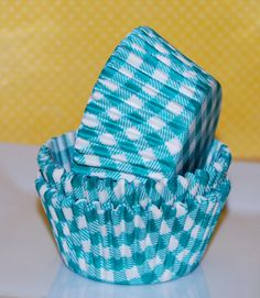Cupcake Liners (50) Count - Jade Green Turquoise Green Gingham Cup Cake Liners…