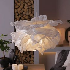 70 ideas origami lamp shade lighting for 2019 Cloud Lampshade, Origami Lampshade, Paper Lampshade, Lampshades, Krusning Ikea, Luminaire Ikea, Paper Light Shades, Cloud Light Shade, Diy Wedding Garland