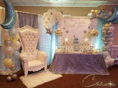 Twinkle Twinkle Little Star Baby Shower Party Ideas Baby Girl Shower Themes, Baby Shower Princess, Baby Shower Gender Reveal, Baby Boy Shower, Cloud Baby Shower Theme, Baby Shower Chair, Baby Shower Venues, Shower Party, Baby Shower Parties