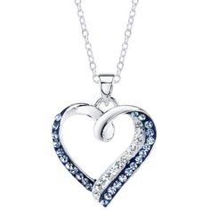 Crystal Sophistication™ Blue & Clear Crystal-Accent Heart Pendant Necklace