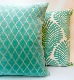 Florence Broadhurst Collection: Mint-Ivory Viscose Down Feather Cushio – FINN AVENUE