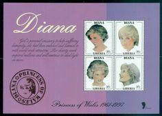 Liberia 1998 Princess Diana in Memoriam, Princess of Wales MS MUH