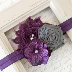 Purple and Gray Shabby Chic Headband, Newborn Headband, Baby Headband, Photography Prop, Boutique Headband, Shabby Chic, Girl Headband