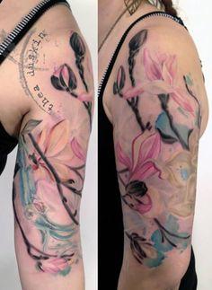 magnolia flower tattoo on half sleeve - 50 Magnolia Flower Tattoos Rose And Butterfly Tattoo, Flower Tattoo Back, Flower Sleeve, Flower Tattoo Designs, Tattoo Designs Men, Forearm Sleeve Tattoos, Best Sleeve Tattoos, Arm Tattoo, Tattoo Ink
