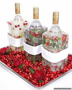 Frozen Vodka: Place Vodka Bottles in empty milk carton. Fill carton with water & cranberries & freeze for Christmas!