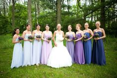 Wedding purple ombré bridesmaids