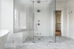 Veranda Estate Homes Inc final images Large zero clearance steam shower with built-in bench and marb Shower Bench Built In, Built In Bench, Custom Home Builders, Custom Homes, Master Bathroom Tub, Modern Farmhouse Bathroom, Home Inc, Steam Showers, Home Hacks