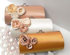 Bouquet Bridal Clutch & Bouquet  Bridesmaid Clutch with Darling Flowers Blooms  - Kisslock Snap Petite Clutch - Gold Ivory Champagne