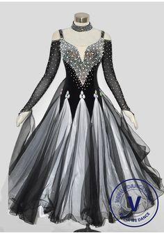 Black Velvet Pearl Elegant Women Ballroom tango waltz Quickstep standard Smooth Competition Gown