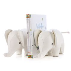 Animal Bookend Elephant, White