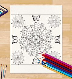 Bluishmuse - Flowers and Butterflies Coloring Page