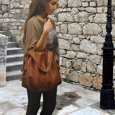 Leather slouchy Handbag named Femme Fatale in by iyiamihandbags