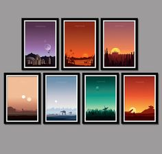 Our Complete Sunset Set Collection Includes - 7 Posters from our favorite story of all time... enjoy!  1. The Phantom Menace 2. Attack of the
