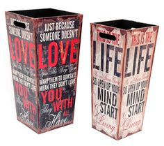 Set 2 Paragueros Madera Love Live 25 x 25 x 53 centímetros Decoupage Wood, Stencil, Snack Bar, Diy Box, Home Living, Painting On Wood, Crates, Diy And Crafts, Projects To Try