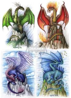 Dragon elements finally together!There they are, each and every one: Originals are now FOR SALE and I also offer postcards. Elements - Together Fairytail, Dragon Artwork, Cool Dragon Drawings, Dragon Sketch, Dragon's Lair, Dragon Pictures, Mythological Creatures, Sword And Sorcery, Magical Creatures