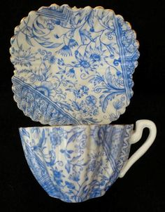 Blue & White ~ Shelley Foley Wileman Demitasse Cup and Saucer in the Dolly Varden pattern (Circa 1872-1890)