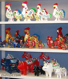 "Swedish ""tourist"" items in glorious colours. Swedish Christmas Decorations, Nordic Christmas, Scandinavian Folk Art, Scandinavian Countries, Swedish Traditions, Lappland, Swedish Design, Animal Decor, Painted Signs"