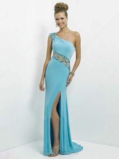 Sheath/Column Chiffon Tulle One Shoulder Split Front Sweep Train Formal Dresses -AUD$195.59