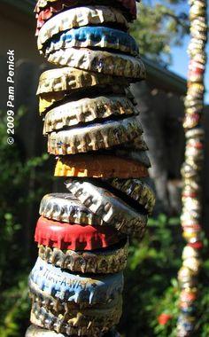 bottle caps strung together...Inside Austin Gardens Tour 2009: Cheryl Goveia's garden | Digging
