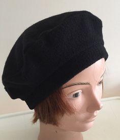 70s black wool lined beret unisex hat medium 22 inches Beatnik Look bb237aa3fa66