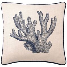 D.L Rhein Embroidered Linen Pillow, Staghorn Coral, Blue, 20 by 20-Inch Down-filled embroidered; 100-percent hemp/burlap  Front and back print with hidden zipper $73.99  #throwpillows #scattercushions #homedecore #giftideas
