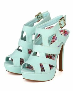 Amazon.com: Qupid Gaze-347 Women Nubuck Strappy Peep Toe Platform Heel - Menthol: Shoes