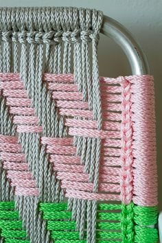 Woven Macramé Chair Tutorial by Lynda JonesWoven Macramé Chair Tutorial - my mom used to make these. Maybe Ada and I could try someday! Check out these beautiful diy Woven Macramé Chairs! Here's a detailed, step by step tutorial to make chairs that e Macrame Projects, Craft Projects, Project Ideas, Crochet Projects, Macrame Chairs, Lawn Chairs, Room Chairs, Lounge Chairs, Side Chairs