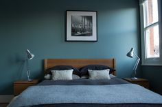 Oval Room Blue paint - farrow and ball Bedroom Loft, Blue Bedroom, Bedroom Colors, Bedroom Decor, Master Bedroom, Bedroom Ideas, Oval Room Blue, Minimal Bedroom, Condo Design