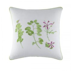 One of four of the Garden of Impressions decorative pillows for 2013, Lolavert is 100% embroidered white linen finished with a green piping all around. Coordinates with linens of the same name or can stand alone grouped with the other three pillows. Orchid and leaves are embroidered on this pillow. Personal favorite of mine! $100