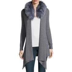 Neiman Marcus Cashmere Fur-Collar Cardigan (965 QAR) ❤ liked on Polyvore featuring tops, cardigans, grey, gray open front cardigan, grey open front cardigan, grey top, grey cardigan and shawl collar cardigan