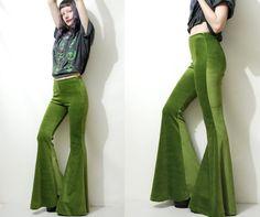 Green Velvet BELLS Flares Bellbottoms Flared Pants Leggings Olive Moss Boho Bohemian Hippie Grunge Handmade ooak S