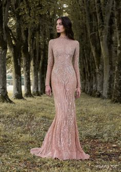 PSAW1702 - Sleeved gown with iridescent wing inspired embroidery