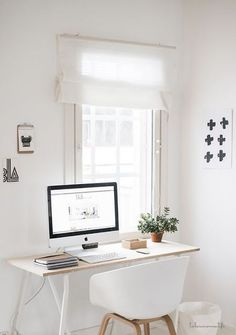 50 Home Office Design Ideas That Will Inspire Productivity A minimalist home office! More Related posts: Cool And Cozy Home Office Design Ideas That Can Boost Your Productivity Home Office Space, Home Office Design, Home Office Decor, House Design, Desk Space, Small Office, White Office, Office Designs, Desk Office