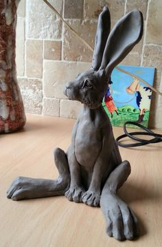 'Large Hares' by Paul Jenkins. Moongazing, Turning and Sitting Raku Ceramic Hare Sculpture. Pottery Animals, Ceramic Animals, Clay Animals, Sculptures Céramiques, Sculpture Clay, Rabbit Sculpture, Ceramic Clay, Ceramic Pottery, Art Clay