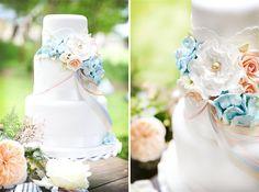 pretty white pastel wedding cake flowers